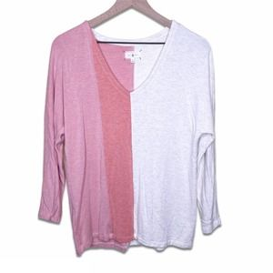 Lou & Grey Colorblock Top Pink Oatmeal Small